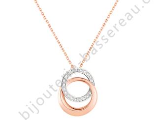 collier or rose pendentif rond diamant